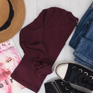 Brandy Melville • Burgundy Knit Crop Top